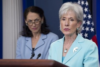 US Secretary of Health and Human Services Kathleen Sebelius (R) speaks alongside Food and Drug Administration (FDA) Commissioner Margaret Hamburg during the Daily Press Briefing in the Brady Briefing Room of the White House in Washington, DC, June 21, 2011. (Image credit: AFP/Getty Images via @daylife)