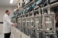 Steve Gleockler, lab operations supervisor, works in the bioreactor lab at Medimmune. (Amy Davis, Baltimore Sun / May 1, 2012)