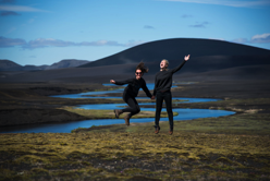 Man And Woman Jumping Free Stock Photo